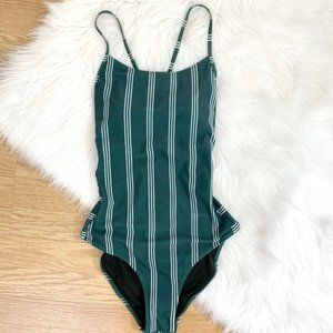 NWT Cupshe Green & White Stripe One Piece Swimsuit